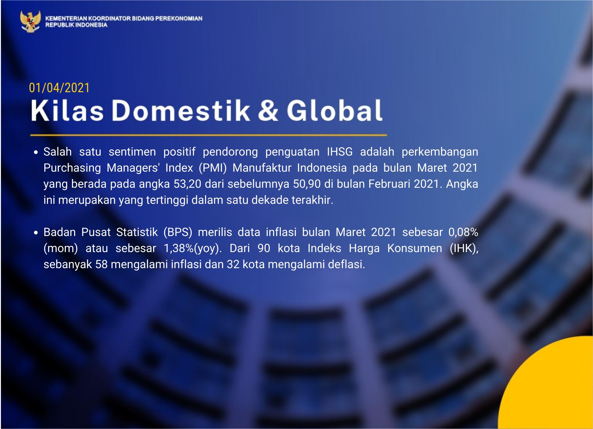PMI Manufaktur Indonesia Bulan Maret 2021 Mencapai Level ...